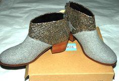 TOMS Women's Leila Boot Grey Felt Shine Boucle Size 7 #TOMS #AnkleBoots
