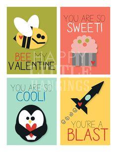 Valentine Cards for Children - includes 8 designs - Printable - Digital File. $5.00, via Etsy.