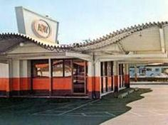 A&W root beer drive-in - one of two drive-ins we had in our town.  I still love their rootbeer!