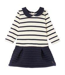 Gestreiftes Baby-Mädchen-Kleid im Materialmix