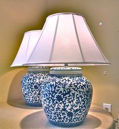 Blue Ginger Jar Bedroom Lamps love the shades