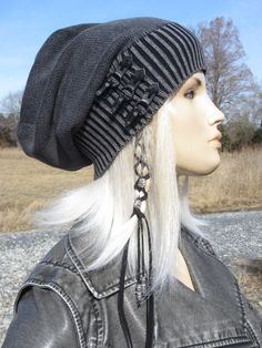 780112db4c6 Edgy Post Apocalyptic Clothing Slouchy Beanie Hat Black  Charcoal Gray  Vintage Buckles Leather Belts Distressed Acid Washed Skull Cap A2077