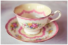 Pink and floral teacup