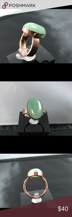 Gorgeous Adventurine Cabochon Copper Ring A-11-02 Beautiful 13x18mm Adventurine Cabochon Set in a handmade natural copper patterned size 6-1/2 ring.  One of a kind and handmade Handmade by HM Simon Jewelry Rings