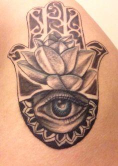 Hamsa with lotus flower
