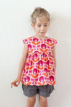 kids clothes week...  geranium shirt pattern/bubble shorts pattern