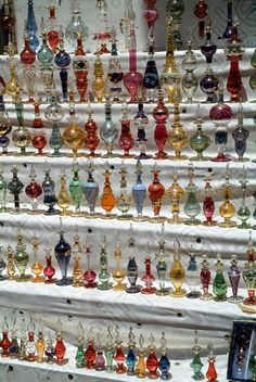 Egyptian perfume bottle collection - exquisite! Only in my dreams would I have a collection like this, don't think Jeremy would go for it