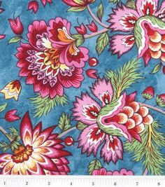 fabric pattern navy blue background with pink flowers - Google Search