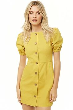 Product Name:Button-Front Mini Dress, Category:dress, Cute Dresses, Casual Dresses, Short Dresses, Women's Fashion Dresses, Skirt Fashion, Classy Outfits, Casual Outfits, Button Front Dress, Indian Designer Outfits