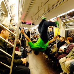 Break Dancers on a NYC subway to Brooklyn. Life as I know it in NYC