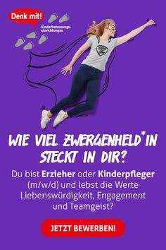 Wie viel Zwergenheld*in steckt in dir? Du bist Erzieher oder Kinderpfleger (m/w/d) und lebst die Werte Liebenswürdigkeit, Engagement und Teamgeist? Dann bist du bei Denk mit! in Bayern und Baden-Württemberg genau richtig. Bewirb Dich jetzt! Employer Branding, Held, Kindergarten, Memes, Beauty, Career, Day Care, Bavaria, Meme