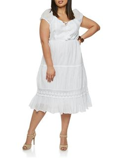 f136acf8d3558 Plus Size Short Sleeve Peasant Dress with Tied Split Neck Plus Size Shorts