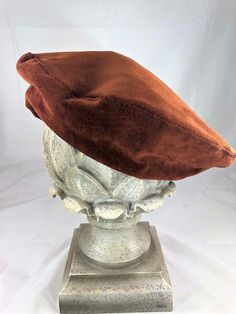83b104f2bc1 Beautiful Vintage Additions Handmade in England Tan Suede Beret