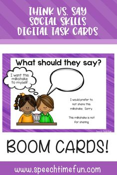 Think vs. Say Social Skills Boom Cards: digital task cards for no prep fun in speech and language therapy