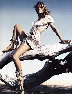 """Kate Moss by Mert & Marcus in """"Castaway"""" for Vogue UK 2002"""