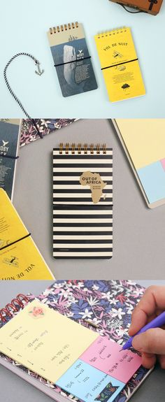 Inspired by popular classic novels, the Folding Spiral Notebook looks great and has a unique feature! The notebook is separated in two; plain notes on the front and has sticky notes on the back!
