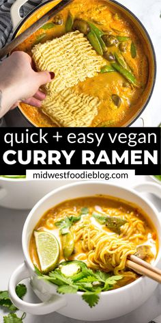 Easy Vegan Ramen Noodles - 20 minutes is all it takes to get this healthy curry. - Easy Vegan Ramen Noodles – 20 minutes is all it takes to get this healthy curry ramen noodle din - Easy Vegan Curry, Thai Vegan, Vegan Chickpea Curry, Vegan Cauliflower, Curry Ramen, Ramen Soup, Tofu Curry, Quick Easy Vegan, Health Desserts