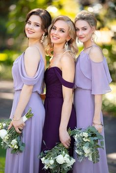 Courtesy of Sorella Vita bridesmaids dresses; 9070 Chiffon Bridesmaid Dress with Flutter Sleeves by Sorella Vita Bridesmaid Dresses Purple Lilac, Sorella Vita Bridesmaid Dresses, Purple Bridesmaid Dresses, Wedding Dresses, Maid Of Honour Dresses, Maid Of Honor Dress Different, Essense Of Australia, Sophisticated Bride, Mod Wedding