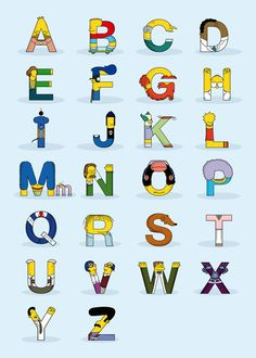 Designer Fabian Gonzalez created an alphabet out of 26 'The Simpsons' characters. In 'Simphabets', each letter represents the first. Homer Simpson, Simpsons Party, Digital Foto, Simpsons Characters, Alphabet And Numbers, Alphabet Charts, Alphabet Soup, Logo Design Inspiration, Cartoons