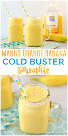 Flu Remedies This Mango Orange Banana Cold Buster Smoothie is packed full of cold and flu fighting ingredients to keep you nourished and healthy during cold and flu season. It's delicious and simple to make! Click the image to grab the full recipe. Fruit Smoothies, Smoothies Banane, Smoothies For Kids, Healthy Smoothies, Healthy Drinks, Orange Juice Smoothie, Healthy Food, Mango Banana Smoothie, Healthy Juices