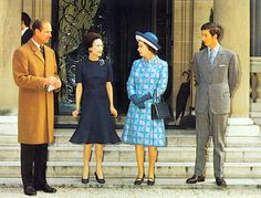 The Duchess on the steps of the Windsor villa with the Duke of Edinburgh, Queen Elizabeth II, and Charles, the Prince of Wales, following their visit to the ailing Duke of Windsor, May 18, 1972.
