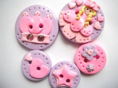 Button Little Princess polymer clay buttons by digitsdesigns