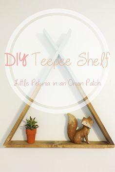 DIY teepee shelf for a woodland theme nursery