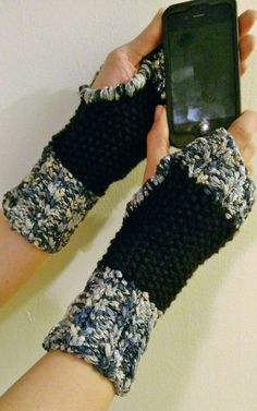 Blue Silver & Black Sari Fabric Fingerless Wrist Warmers by NadiasKnits, $25.00