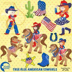 80%OFF Cowboy clipart, American cowboy clipart, Cowgirl clipart, stars and stripes, cowgirl clipart, commercial license, AMB-565