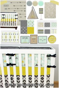 Tribal Crib Bedding, Tribal Nursery, Baby Boy Nursery, Mint and Yellow Crib Bedding