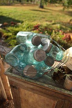 Beautiful blue mason jars in country sunshine ~ Antique Bottles, Vintage Bottles, Bottles And Jars, Glass Bottles, Antique Glass, Antique Items, Vintage Mason Jars, Blue Mason Jars, Pots