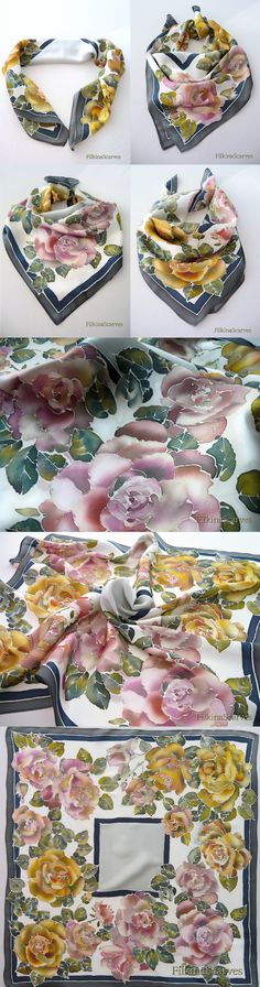 FilkinaScarves Etsy Hand Painted Silk Scarf Roses silk scarf Handpainted Scarf Women gift Silk Painting Handmade Batik mother gift Unique Neck scarf Floral FS 9 . Luxurious hand painted square scarf - silk satin neck scarf, it can be worn as a bandana too (quads 70/70) - with yellow and pale pink roses, edged with dark blue and gray trim on ivory background.  The fabric is 100% Silk Satin