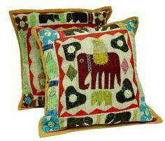 SKU NO: (CUSHION COVER 17) 2 Yellow Handcrafted Applique Patchwork Ethnic Indian Elephant Throws Pillow Krishna Mart Cushion Covers by Krishna Mart India, http://www.amazon.com/dp/B00C1CGXKG/ref=cm_sw_r_pi_dp_Slkhsb1K3C8Y4