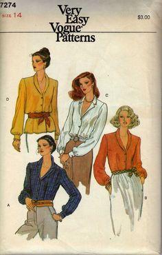 1980s Vogue 7274 Vintage Sewing Pattern Misses by cositasusa,
