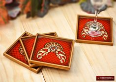 Red Glass Coasters set of 4  Peruvian Glass by DECORCONTRERAS