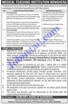 MTI Nowshera Jobs 2021 has been announced through the advertisement and applications from the suitable persons are invited on the prescribed application form. In these Latest Jobs in Nowshera Medical Teaching Institution the eligible Male/Female candidates from across the country can apply through the procedure defined by the organization and can get these Jobs in ... Read more The post MTI Nowshera Jobs 2021 – Jobs in Nowshera Medical Teaching Institution appeared first on JobUstad.