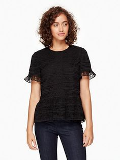 kate spade mixed lace top, black  originally $328.00, sale $230.00