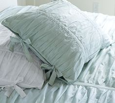 Hadley Ruched Duvet Cover & Sham - Blue #potterybarn
