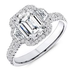 2.60 Carat Designer Emerald Cut Engagement Ring
