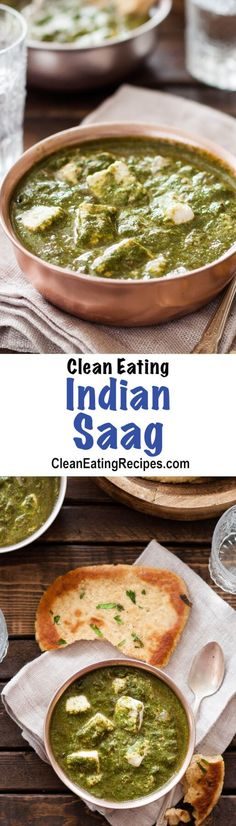 Indian Saag Recipe {Paleo Clean Eating Gluten-Free Dairy-Free Vegetarian - I love Indian food and have tried lots but chicken saag is my favorite by far. I always order it at my favorite Indian restaurant but I actually like this recipe be Paneer Recipes, Indian Food Recipes, Vegan Recipes, Cooking Recipes, Vegan Meals, Diet Recipes, Healthy Indian Food, Snacks Recipes, Dairy Free