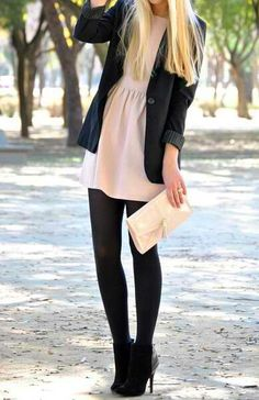 Ice-pink dress with black stockings, pumps and boyfriend jacket + Cream clutch | Messages - 1. Sophisticated, classy, chic 2. Simple, modest | Cues - 1. Two-toned solids, short, soft fabric-short dress, stilettos 2. No accessories, solid colors-no patterns, jacket.