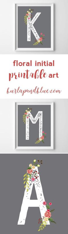 perfect for a nursery, girls room or baby shower #decor, these floral art printables feature a gray background and sweet pink and green florals!