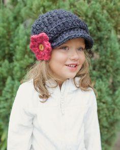 Newsboy Hat Childrens Crochet Hat Brimmed by SimplyMadeByErin