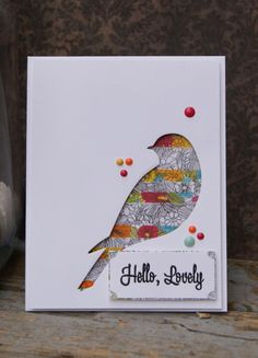 Reverse die-cut of a bird, backed with patterned paper. Dots with Liquid Pearls. could have patterned paper behind or an inside photo, use for front of card or cover of journal Mail Art, Washi Tape Cards, Fabric Cards, Die Cut Cards, Bird Cards, Animal Cards, Creative Cards, Cute Cards, Homemade Cards