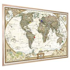 "National Geographic Antique World Pinboard Map Wood Framed with Flag Pins (36"" x 24"") - be careful to buy a UK map"