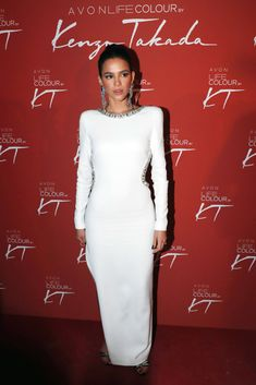 PARIS, FRANCE - OCTOBER Model Bruna Marquezine attends the Avon Life Colour Party By Kenzo Takada as part of the Paris Fashion Week Womenswear Spring/Summer 2019 on October 2018 in Paris, France. (Photo by Bertrand Rindoff Petroff/Getty Images) Red Wrap Dress, White Dress, Neymar Girlfriend, Bruna Marquezini, Color Of Life, Colorblock Dress, Red Carpet Dresses, Queen, Looking Stunning