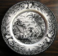 """11 """""""". SO HARD TO FIND. Don't know if I will ever get more. This is a wonderful toile pattern. Wonderful center woman and boy motif with super lush fruit edge pattern. Very nice. Made in Staffordshire"""