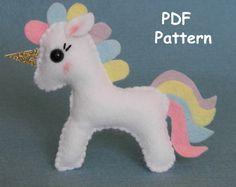 PDF felt unicorn ornament pattern Unicorn PDF sewing pattern Kawaii Unicorn Plush Toy DIY Baby Mobile Felt Animal Pattern