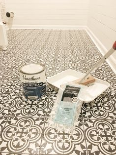 DIY Stencil Painted Tile Floors – Beauty For Ashes Have outdated floors that need a quick makeover? I'm sharing a step by step tutorial for how I did just this with stencil painted tile floors. Painting Over Tiles, Painting Ceramic Tile Floor, Stenciled Tile Floor, Tile Floor Diy, Painting Tile Floors, Bathroom Floor Tiles, Painted Floors, Stencil Painting, Floor Stencil