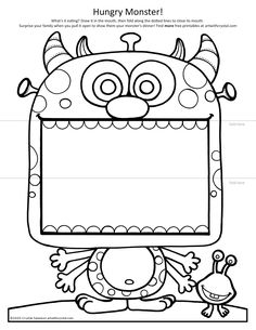 Monster Coloring Pages, Cool Coloring Pages, Coloring Pages To Print, Coloring Books, Free Printable Art, Printable Crafts, Printables, Grade 1 Art, Kindergarten Art